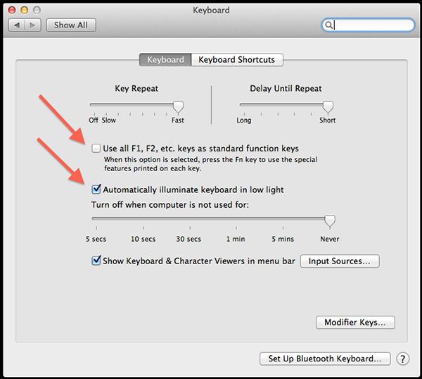 Adjust your keyboard and display brightness macbook