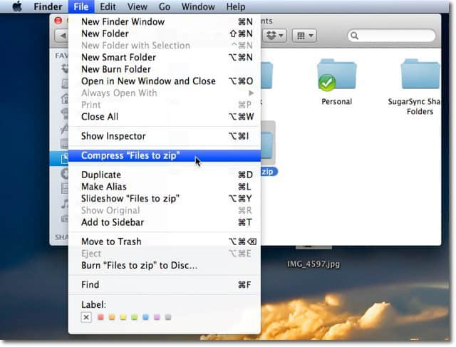 zip photo files on mac